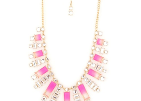 Pink Statement Necklace & Earrings Set