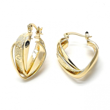 Gold Filled Ladies Hoop Earring, Rope Style