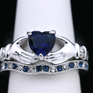 Size: 5 -11 Gorgeous Love & Heart Blue CZ ring #783