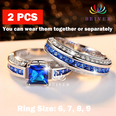 Luxury Double Ring in Blue / Pink Princess Cut 5.0 cttw Cubic Zircon in White Go