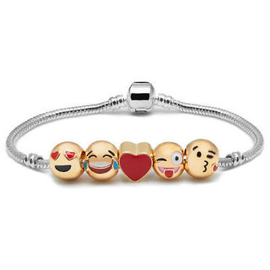 Emoji Charm Bracelet 18K Yellow Gold Plated Beads 10 Charms Christmas Gift