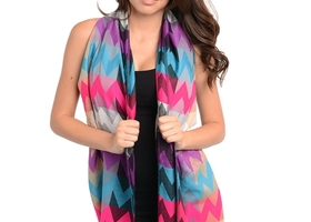New - Multicolor Chevron Print Scarf w/Fringes