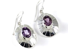 .925 Faceted Amethyst Earrings