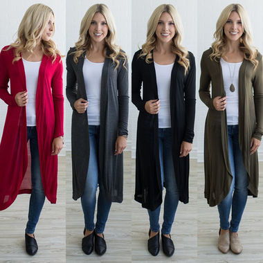 Women Knit Open Long Cardigan Jumper Long Sleeve Jumper Loose Knitwear Casual