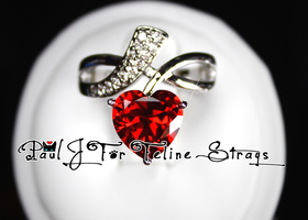 Size 6 or 7 Heart-Cut Crimson AAA Grade CZ Accent Ring