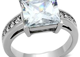 Princess Cut CZ Stainless Ring, Sizes 5-10