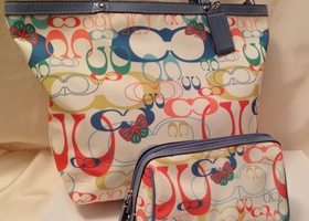 2pc Rare Coach Optic Butterfly Print Tote + Case