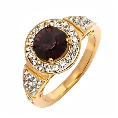 18K Gold Plated Gold and Purple Cz Round Ring