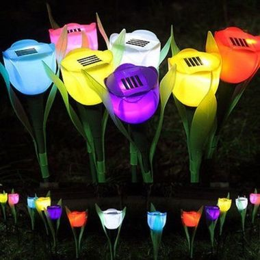 Outdoor Yard Garden Path Way Landscape Lamp Solar Powered Tulip Flower LED Light