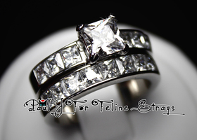 5 6 7 8 9 10 Princess Cut 5ct Channel Set SS Ring Set