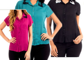 Top with Lace collar- choose from 3 colors