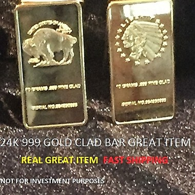 wow GREAT ITEM 1 BUFFALO 24K 999 FINE GOLD CLAD BAR this is a great item start y