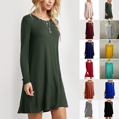 Women's Loose O-neck Long Sleeve Ruffles Cotton Blends Plain Mini Dresses