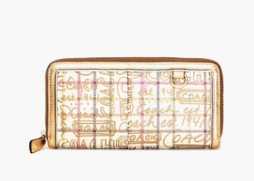 COACH RARE Gold Graffiti Accordion Wallet