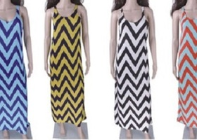 Chevron-Stripe Maxi Sundress - Various colors