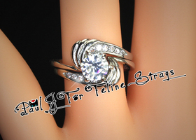 5 6 7 8 9 10 Ornate ~1.87ct 2-piece 316SS Ring Set