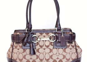 COACH Khaki Signature Leather Belted Hamptons Carryall