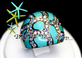 ✦ 5 6 7 8 9 10 AB Crystal Starfish Beach Dome Ring