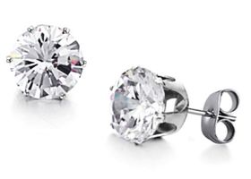 One Pair Stainless Steel 5mm Cz Crytal Earrings