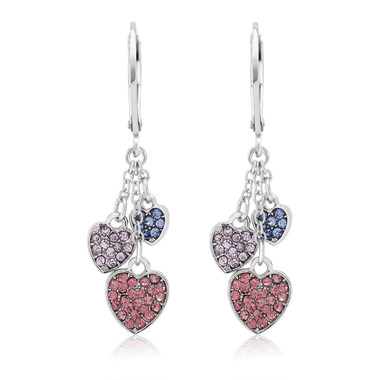 Crystal Drop Hearts Earrings