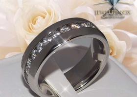 Men's Stainless Steel Eternity Clear Gems Ring