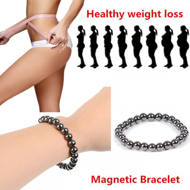 Free Shipping Unisex Weight Loss Round Black Stone Bracelet Health Care Magnetic