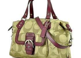 New Coach Signature Convertible Satchel Leather Trim