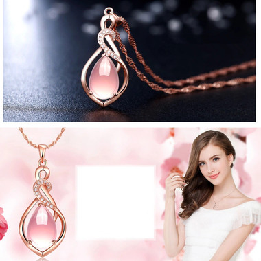 Fashion Women 's Jewelry Artificial Pink Pink Crystal Stone Necklace Elegant Par