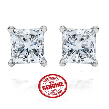Genuine 14K White Gold 2.00 ct Princess Cut Stud Earrings