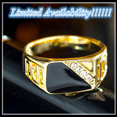 Limited Availability!!!!!! Size 7-12 Classic AAA+ CZ 18K Yellow Gold Plated Men