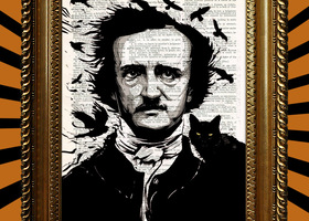 Edgar Allan Poe with Cat Book Page Print