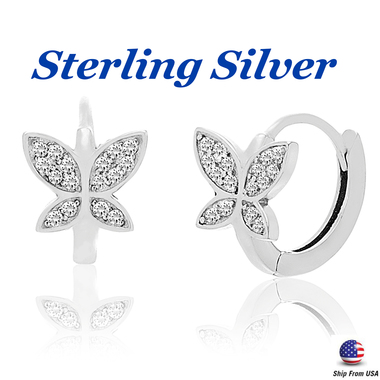 18K White Gold Sterling Silver Butterfly Stud Earrings