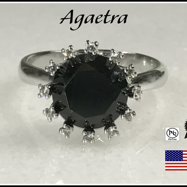 Onyx Crown on Rhodium Plated Ring.