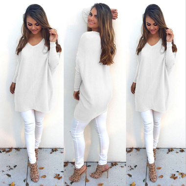 Autumn Fashion Long Sleeved Loose V Collar Women's Thin Sweater