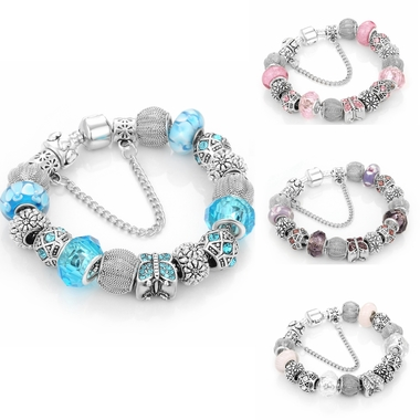 Brand Pandora Beads Link Chain Charms Bracelet Statement Bracelet for Gift 4 Col