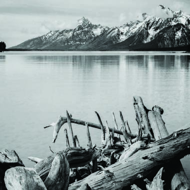 Ansel Adams Jackson Lake with Tetons in the background