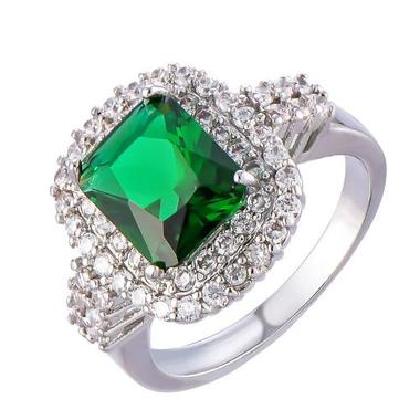 Emerald 14K White Gold  Filled Engagement Wedding Ring