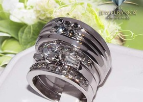 His & Hers 4 pcs CZ Silver Stainless Steel Wedding Set