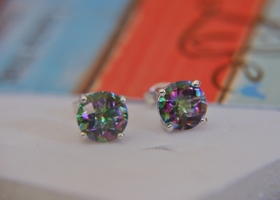 Sterling Silver~Enh. Mystic Rainbow Topaz Earrings