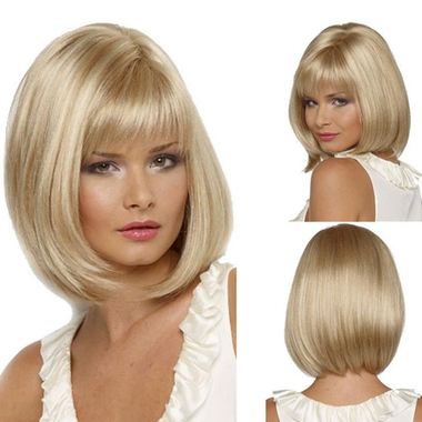 Women BOBO Short Light Gold/blonde Straight Wig Party Cosplay Daily Dress