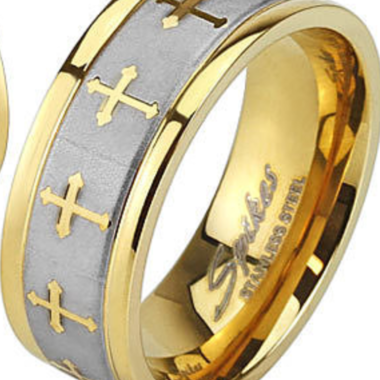 Gorgeous Golden Brushed Celtic Cross Wedding Band Will Never Tarnish Multiple Si