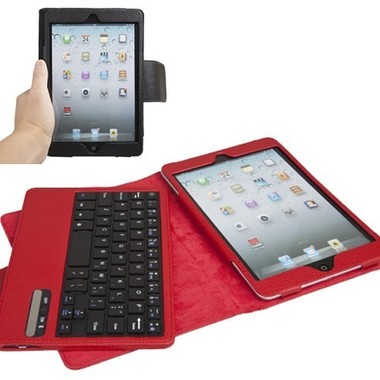 iPad Mini Detachable Bluetooth ABS Keyboard w/Leather Case & Stand