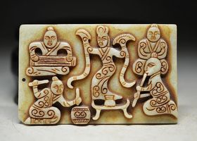 Old White Jade Happiness Tablet/Totem