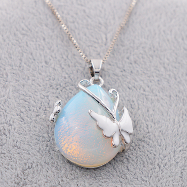 Estate Modernist Genuine Waterdrop White Opal With Butterfly Pendant Necklace In