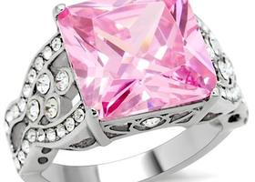 Pink Princess Cut CZ Stainless Ring, Sizes 5-10