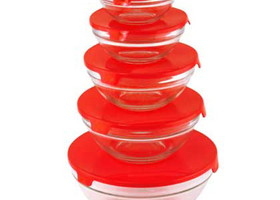 Glass Bowls - Red Lids