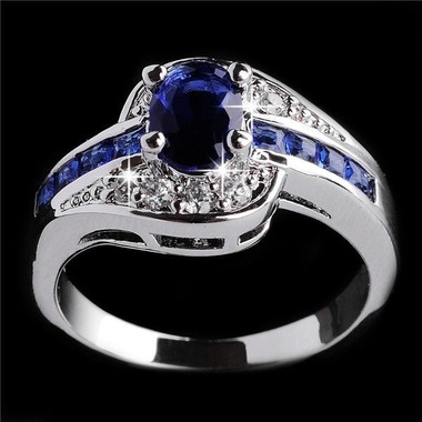 jewelry Women Blue Wedding T37 B Ring