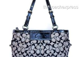 COACH Black Signature Pleated Gallery Tote #14281