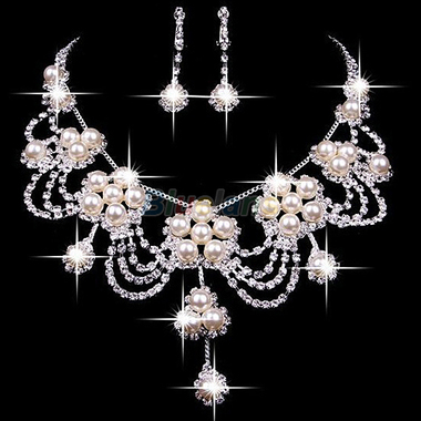 Sliver Plated Rhinestone Crystal Pearl Necklace Earring Jewelry Set For Wedding