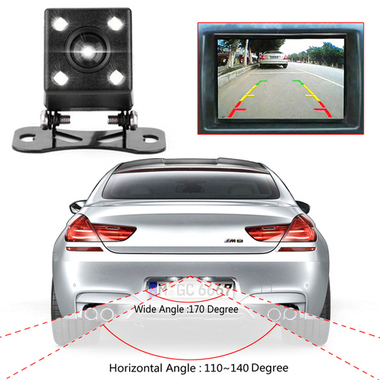 CN Waterproof 4 LED Night Vision Car CCD Rear View Camera Reverse Camera With 3